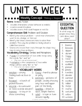 Wonders McGraw Hill Newsletters 4th Grade Unit 5 Weeks 1-5