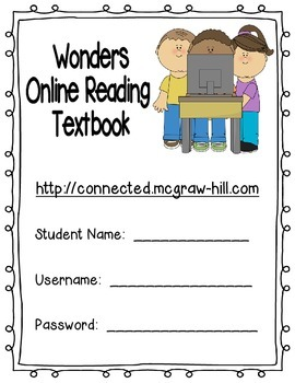 Wonders McGraw Hill Online Reading Textbook Log-In Sheet