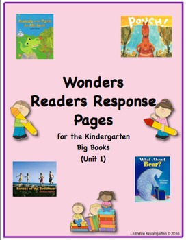 Wonders McGraw-Hill Readers Response Pages for Kindergarten Big Books Unit 1