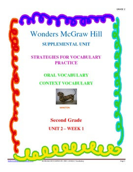 Wonders Supplemental Unit for Oral and Context Vocabulary Unit 2 - Week 1