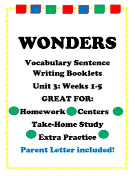 Wonders McGraw Hill Vocabulary Sentence Writing Booklet Unit 3