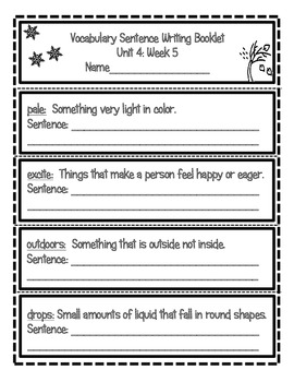 Wonders McGraw Hill Vocabulay Sentence Writing Booklet Unit 4