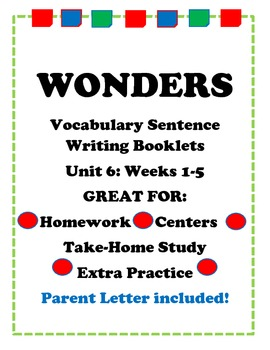 Wonders McGraw Hill VocabulaySentence Writing Booklet Unit