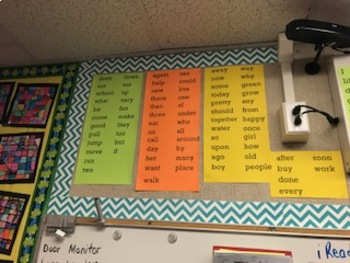 Wonders McGraw Hill Word Wall of all the High Frequency Words
