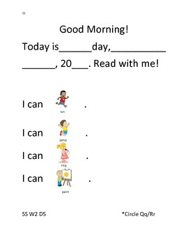 Wonders Morning Message Smart Start Weeks 1-3