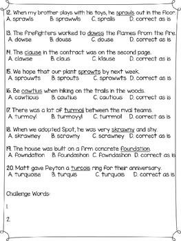 Wonders Multiple Choice Spelling Tests - Unit 2