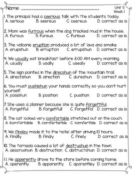 Wonders Multiple Choice Spelling Tests - Unit 5