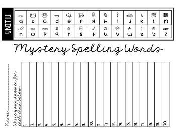 Wonders Mystery Spelling Words 4th