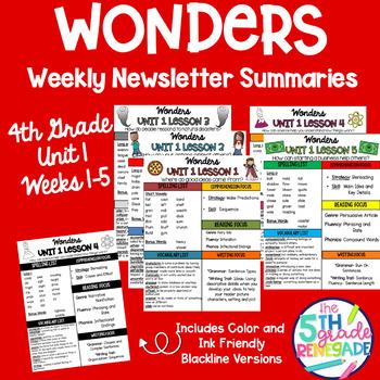Wonders Newsletter Summary 4th Grade Unit 1 Weeks 1-5