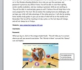 Wonders Online Log-In Sheet Instructions for Parents