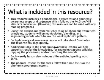 "1st Grade ""Wonders"" Phonemic Awareness and Phonics Companion Guide: Entire Year"