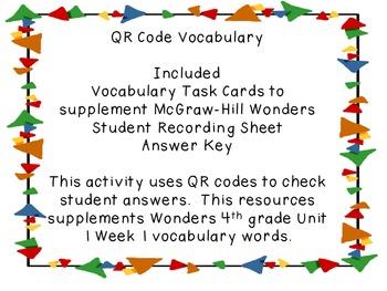 Wonders QR Code Vocabulary Unit 1 Week 1