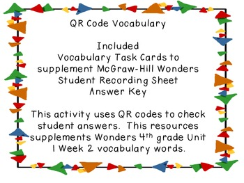 Wonders QR Code Vocabulary Unit 1 Week 2