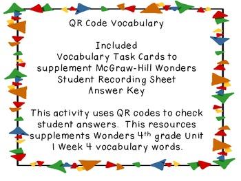Wonders QR Code Vocabulary Unit 1 Week 4