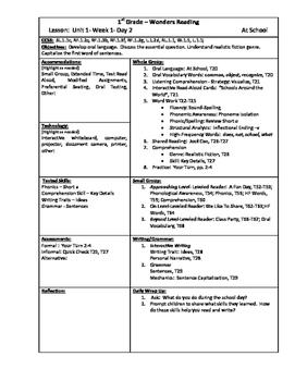 Wonders Reading 1st Grade Unit 1 Week 1 Lesson Plan (2014 edition)
