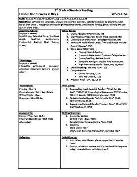 Wonders Reading 1st Grade Unit 1 Week 2 Lesson Plan (2014 edition)