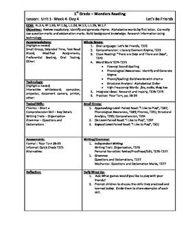 Wonders Reading 1st Grade Unit 1 Week 4 Lesson Plan