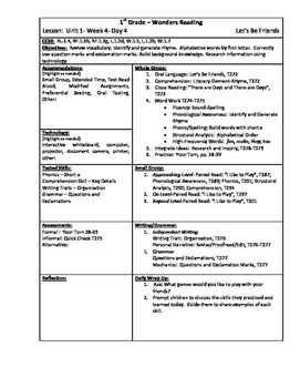 Wonders Reading 1st Grade Unit 1 Week 4 Lesson Plan (2014 edition)