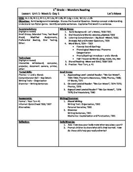 Wonders Reading 1st Grade Unit 1 Week 5 Lesson Plan