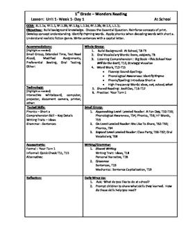 Wonders Reading 1st Grade Unit 2 Lesson Plans (2014 edition)