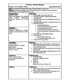 Wonders Reading 1st Grade Unit 2 Week 1 Lesson Plan (2014 edition)