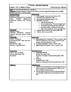 Wonders Reading 1st Grade Unit 2 Week 3 Lesson Plan