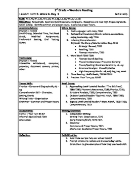 Wonders Reading 1st Grade Unit 2 Week 4 Lesson Plan