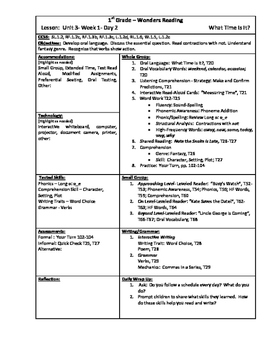 Wonders Reading 1st Grade Unit 3 Week 1 Lesson Plan (2014 edition)