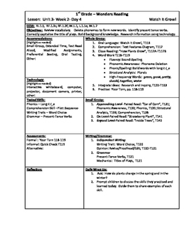 Wonders Reading 1st Grade Unit 3 Week 2 Lesson Plans