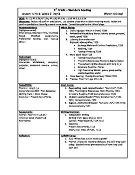 Wonders Reading 1st Grade Unit 3 Week 2 Lesson Plans (2014 edition)