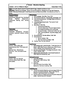 Wonders Reading 1st Grade Unit 3 Week 3 Lesson Plans