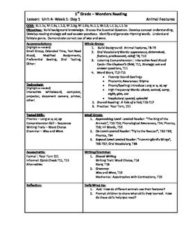 Wonders Reading 1st Grade Unit 4 Week 1 Lesson Plan