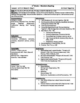 Wonders Reading 1st Grade Unit 4 Week 2 Lesson Plan
