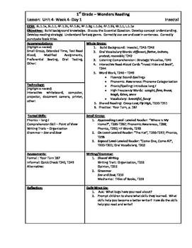 Wonders Reading 1st Grade Unit 4 Week 4 Lesson Plan