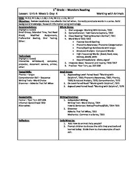 Wonders Reading 1st Grade Unit 4 Week 5 Lesson Plan