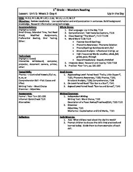 Wonders Reading 1st Grade Unit 5 Week 2 Lesson Plan
