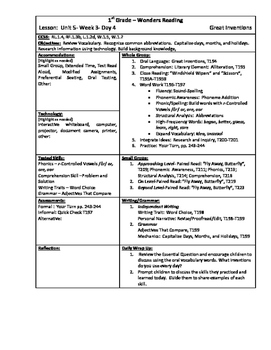 Wonders Reading 1st Grade Unit 5 Week 3 Lesson Plan