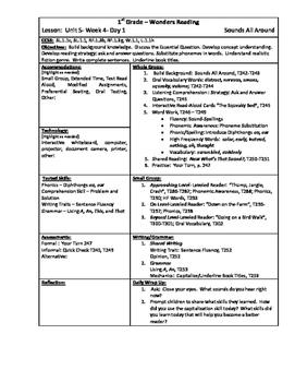 Wonders Reading 1st Grade Unit 5 Week 4 Lesson Plan