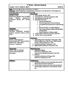 Wonders Reading 1st Grade Unit 5 Week 5 Lesson Plan