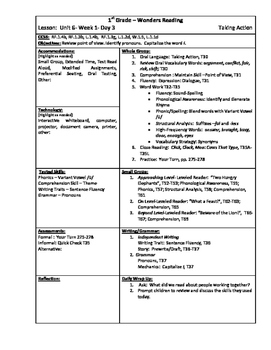 Wonders Reading 1st Grade Unit 6 Week 1 Lesson Plan