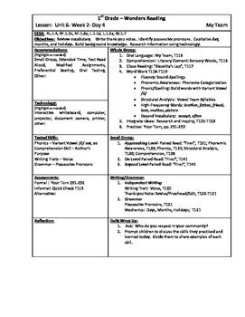 Wonders Reading 1st Grade Unit 6 Week 2 Lesson Plan