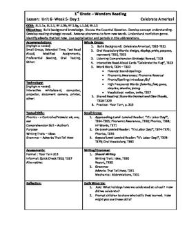 Wonders Reading 1st Grade Unit 6 Week 5 Lesson Plan