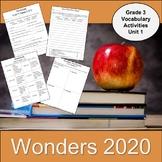 Wonders 2020 Third Grade Vocabulary Activities Unit 1