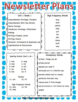 Wonders McGraw-Hill Reading 2nd Grade Unit 1-6 Newsletter Plans