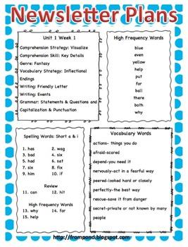 Wonders McGraw-Hill Reading 2nd Grade Unit 1-6 Newsletter Plans