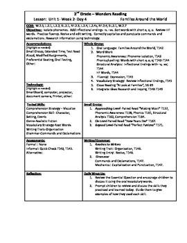Wonders Reading 2nd Grade Unit 1 Week 2 Lesson Plan