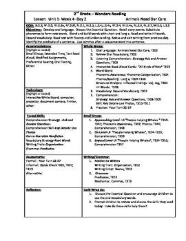 Wonders Reading 2nd Grade Unit 1 Week 4 Lesson Plans
