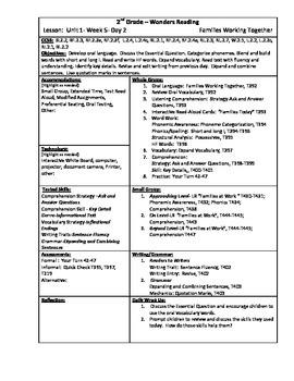 Wonders Reading 2nd Grade Unit 1 Week 5 Lesson Plans