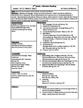 Wonders Reading 2nd Grade Unit 2 Week 1 Lesson Plan