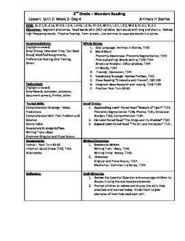 Wonders Reading 2nd Grade Unit 2 Week 2 Lesson Plan